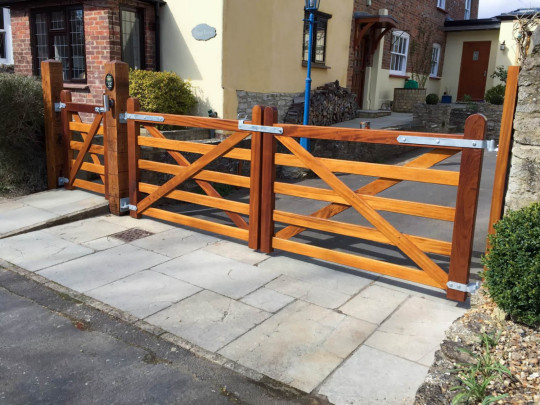 Iroko bar gates, Joiners, Hertfordshire