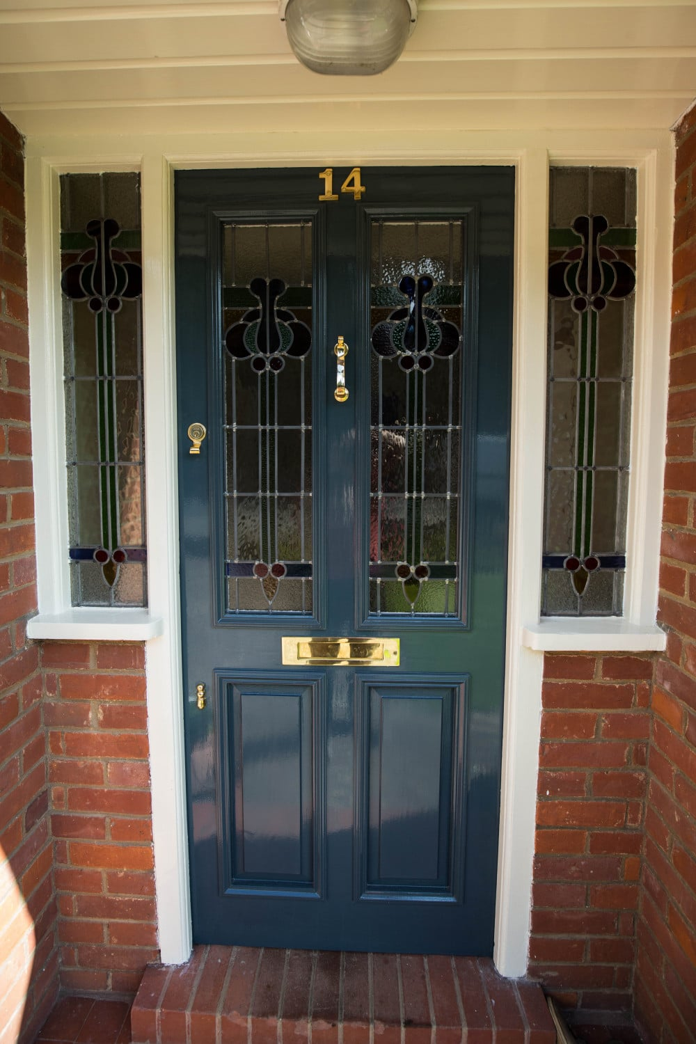 Stained glass front door waterhall joinery ltd for Glass door in front of exterior door