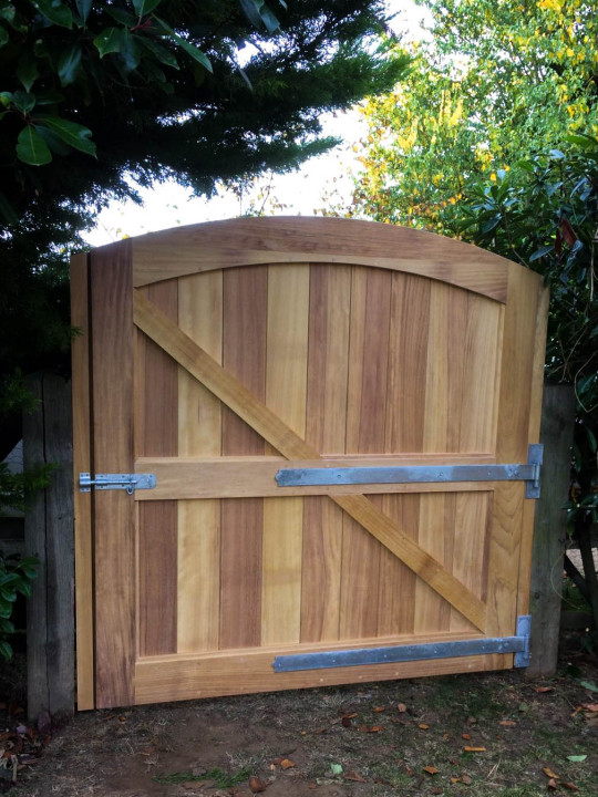 Curved Top Iroko Gate, Waterhall Joinery Ltd, Bespoke Joinery