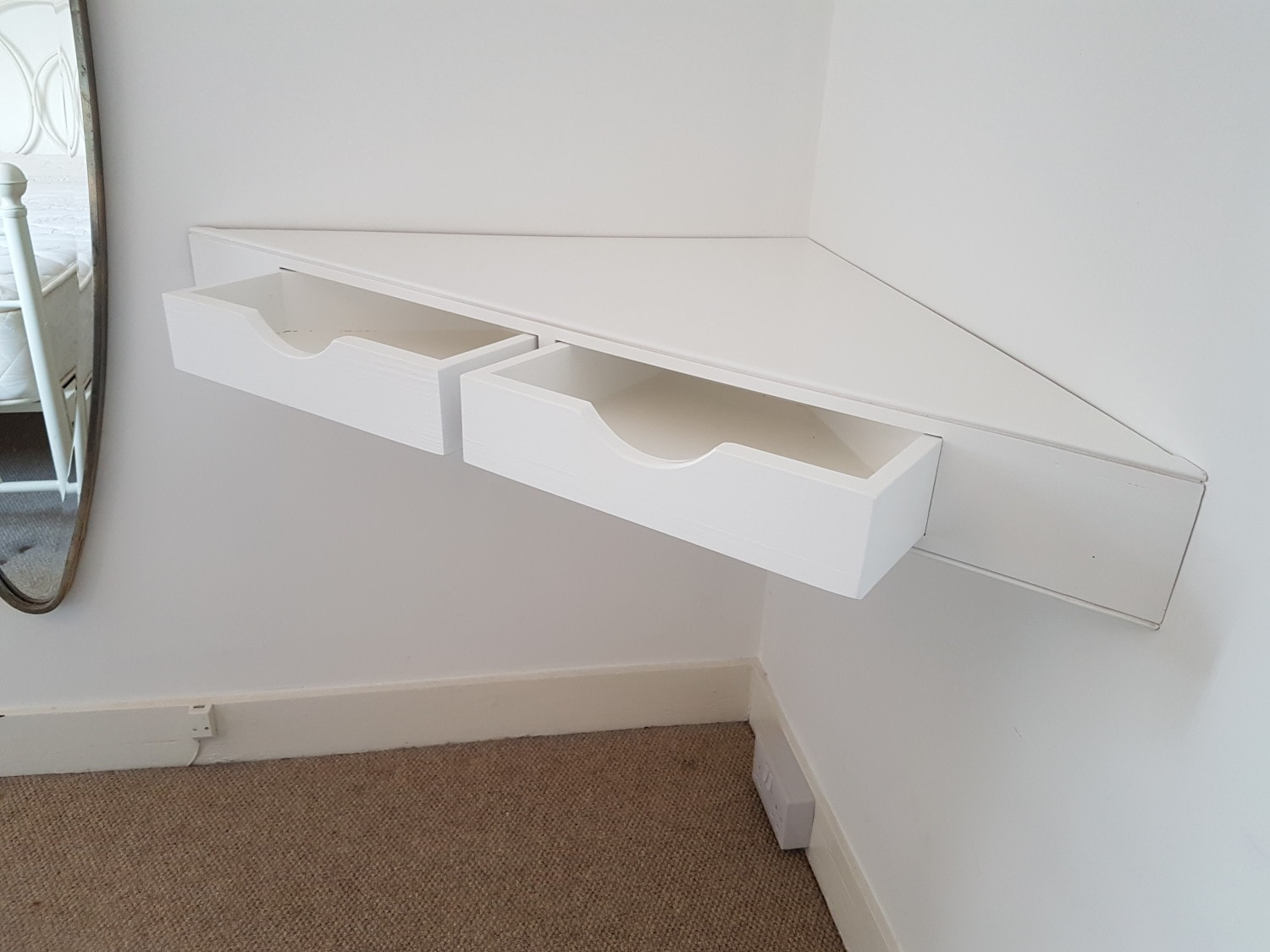 Floating Corner Shelf With Drawers Waterhall Joinery Ltd