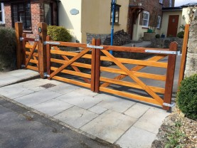 Iroko bar gates, Joiners, Hertfordshire