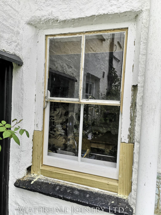 Wooden repairs to old rotten sash window