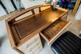 Walnut & Leather Desk, Waterhall Joinery Ltd